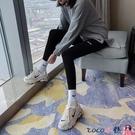 熱賣打底褲 春秋冬季純棉灰色打底褲女外穿高腰彈力緊身九分褲秋褲女加絨加厚【618 狂歡】