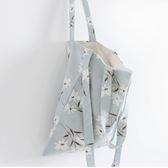 《花花創意会社》外流。淺藍水仙花棉麻手提斜揹包【H4687】