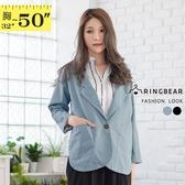 加大尺碼--韓版復古率性翻領造型大口袋中長版西裝外套(黑.藍M-4L)-J331眼圈熊中大尺碼