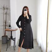 韓版休閒連身裙L-4XL大碼連衣裙過膝長裙2019秋新款胖妹妹長款襯衫裙子R033A-1591