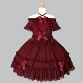 洋裝 蝴蝶結蕾絲一字領雪紡短袖綁帶連身裙jsk
