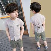 2019童裝男童夏裝套裝1-3歲兒童男寶寶襯衫中小童兩件套潮【快速出貨】