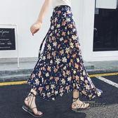 長裙女夏雪紡一片式中長款碎花海邊度假沙灘裹裙半身裙子
