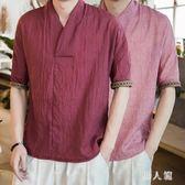 民族風上衣中國風寬鬆七分袖亞麻短袖男T恤夏裝薄款棉麻半袖潮流 FR9742『男人範』