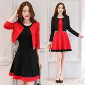 小禮服 新款敬酒服顯瘦紅色短款連衣裙宴會禮服披肩外套兩件套 QQ11101『bad boy時尚』