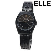 [萬年鐘錶] ELLE 經典設計 簡約 不鏽鋼錶 黑錶面 黑錶帶 日期顯示 女錶  EL21001B03X