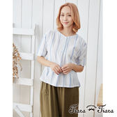 【Tiara Tiara】直條紋V領襯衫短袖上衣(白底/藍底)