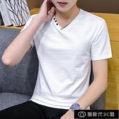 T恤男夏季薄款V領體恤衫青年韓版修身春夏短袖T恤男士潮流半【全館免運】