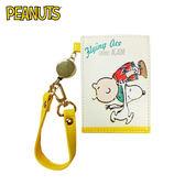 【日本正版】史努比 印刷風 彈力票卡夾 票夾 證件套 悠遊卡夾 Snoopy PEANUTS - 129431