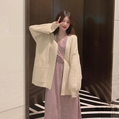 V領針織外套寬鬆外穿日系毛衣開衫外套女秋冬【時尚大衣櫥】