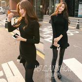 洋裝 韓版新款小黑裙打底裙魚尾修身毛衣中長款針織連身裙 米蘭shoe