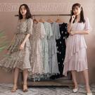 MIUSTAR 交疊V領荷葉袖腰鬆緊蛋糕裙花花雪紡洋裝(共6色)【NH1240】預購