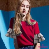 【SHOWCASE】休閒圓領格紋雙層荷葉五分袖雪紡上衣(紅)