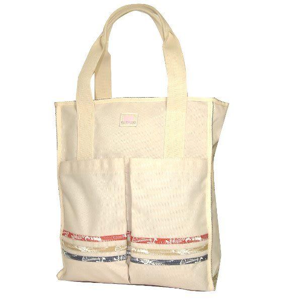 ELLE 愛心帆布系列長型雙口購物袋(米白色) S5564050BG