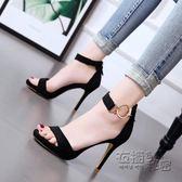 高跟鞋夏季新款韓版百搭高跟鞋細跟涼鞋性感夜店露趾一字扣金色女鞋 衣櫥の秘密