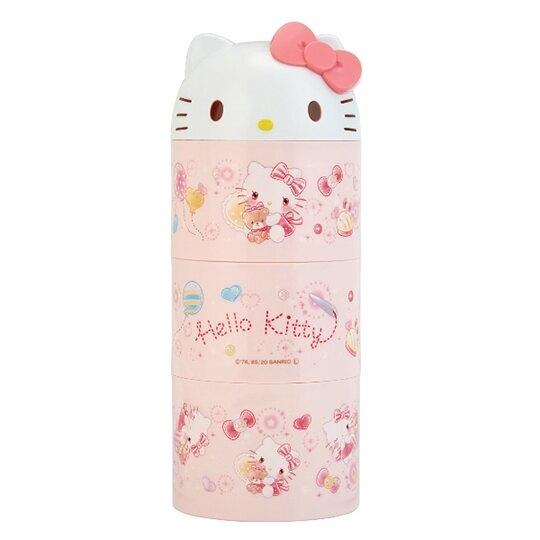 小禮堂 Hello Kitty 日製 造型蓋三層微波便當盒 圓形便當盒 塑膠便當盒 保鮮盒 (粉 大臉) 4973307-51950