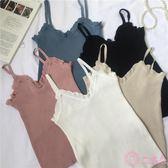 春夏韓版時尚修身小性感花邊針織衫吊帶外穿打底衫小背心上衣女士 一次元