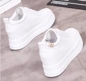 厚底小白鞋女內增高8CM冬季2019新款韓版休閒百搭街拍學生鞋白鞋 美芭