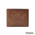 FOSSIL DERRICK 真皮大零錢袋RFID男夾-棕色 ML3687200