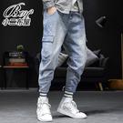 牛仔長褲 工裝口袋丹寧九分縮口褲【NLSS-A30】