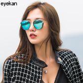 太陽鏡女潮圓形墨鏡韓版網紅同款眼鏡時尚偏光鏡KD8803  卡布奇諾
