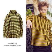 韓版修身長袖T恤exo同款高領條紋打底衫黃色休閒男情侶裝上衣  伊莎公主