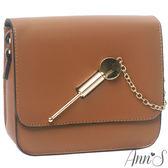 Ann'S密斯朵-金色斜插扣挺版mini小方包-棕