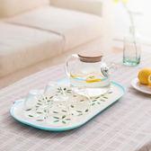 盤托盤瀝水盤創意放杯子盤子茶杯杯盤水杯帶孔瀝水菜筐家用果盤茶【萬聖節八五折搶購】