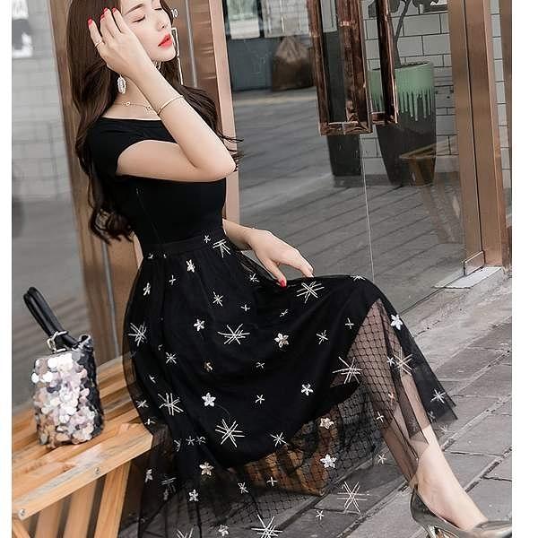 星星網紗亮片法式浪漫長洋裝[98763-QF]小三衣藏