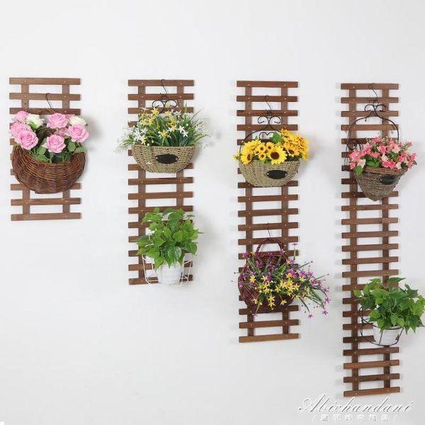 實木客廳墻上花架木質掛墻懸掛花盆架陽台壁掛墻壁原木植物架 igo黛尼時尚精品