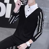 假兩件長袖襯衫領上衣男士小衫2020秋季新款韓版潮流t恤針織衣服
