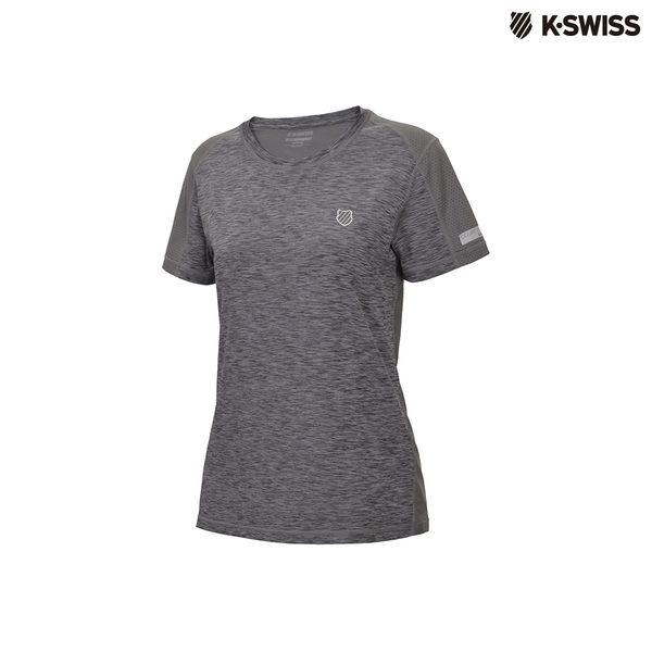 K-Swiss Poly Tech w/mesh Tee運動排汗T恤-女-灰