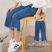 女童長褲 小漆點微喇叭不規則褲口九分牛仔長褲 韓國外貿中大童 QB allshine