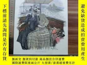 二手書博民逛書店【罕見】1890年小幅木刻版畫《手牽手》(hand in han