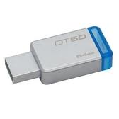 金士頓 隨身碟 【DT50/64GB】 DT50 USB 3.1 64G 藍標 無蓋式設計 金屬外殼 新風尚潮流