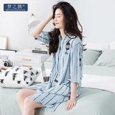 居家服 睡衣女士韓版開衫中短袖睡裙純棉襯衫領中長款家居服【小天使】