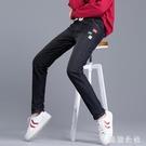 加絨牛仔褲子女 2020秋冬裝新款初中高中學生韓版高腰直筒加厚長褲 YN3591『美鞋公社』
