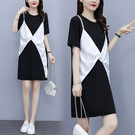 假兩件 洋裝女 寬裙 t恤裙L-5XL韓版氣質假兩件寬松拼接珍珠連身裙4F007.9765 1號公館