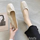 豆豆鞋網紅單鞋女 夏款淺口平底百搭溫柔晚晚豆豆蛋捲奶奶鞋女芭蕾鞋 【全館免運】