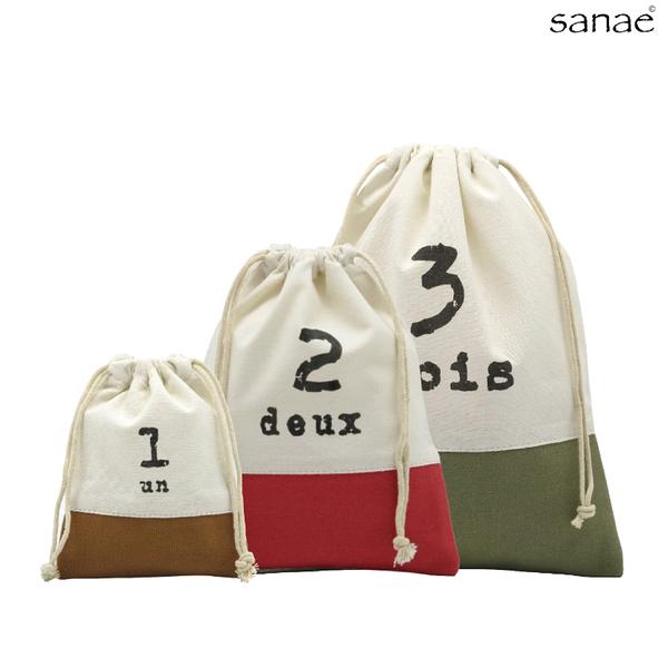 早苗帆布 123帆布束口袋 收納袋 共3款