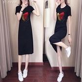 休閒洋裝100%純棉連身裙21夏季新款女韓版中長款修身休閒顯瘦短袖t恤裙 快速出貨