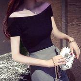 一字肩上衣 新款黑色短袖女露肩一字肩上衣短款漏肩緊身t恤性感純棉夏裝