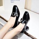小皮鞋粗跟單鞋女秋季復古方頭中跟高跟鞋子韓國百搭 【快速出貨】