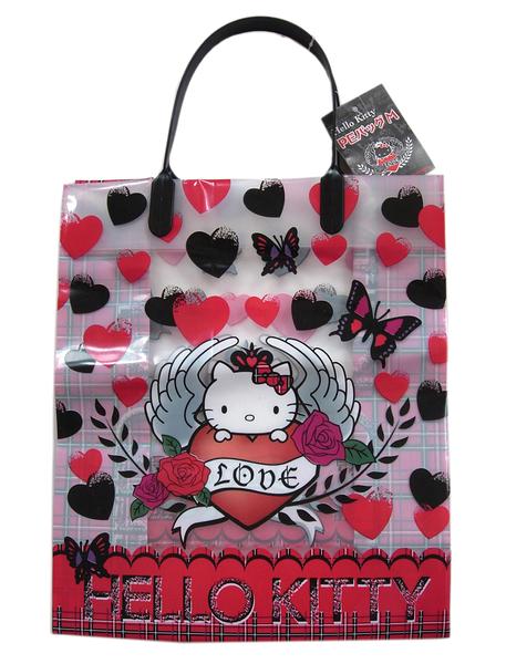 【卡漫城】 Hello Kitty 禮品袋 單售 紅黑愛心 ㊣版 手提袋 購物袋 萬用袋 凱蒂貓 半透明 禮物袋