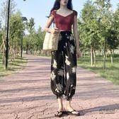 韓風chic百搭印花寬鬆燈籠褲闊腿褲女鬆緊腰休閒九分褲