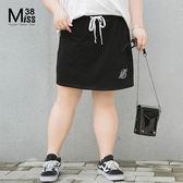 Miss38-(現貨)【A03163】大尺碼短裙 黑色 抽繩鬆緊腰 休閒運動 A字半身裙 純棉短裙-中大尺碼女裝