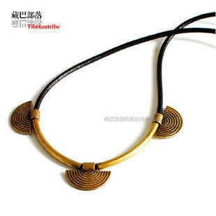 古銅色金屬牌銅管女款頸鏈