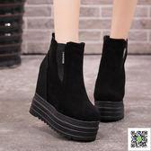 短靴 韓版秋冬季厚底厚底楔形內增高短靴女鞋13CM鬆糕底馬丁靴子裸靴 生活主義