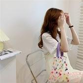 花花包包女可愛刺繡歐根紗手提包百搭手拎透明購物袋【聚可愛】