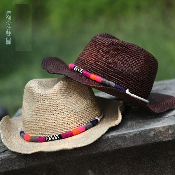 手工拉菲草編禮帽沙灘帽牛仔帽夏天遮陽帽子男士女士   -396400123